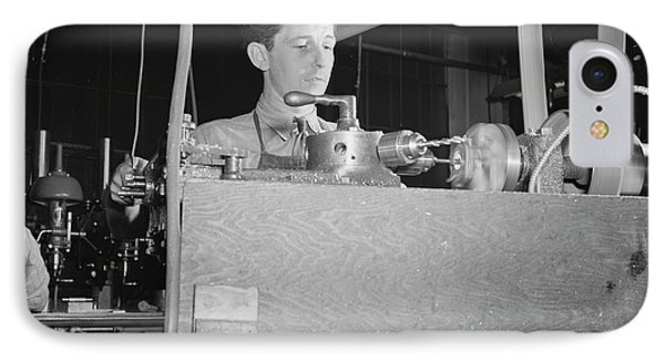 Worker Operating At A Turret Lathe IPhone Case by Stocktrek Images