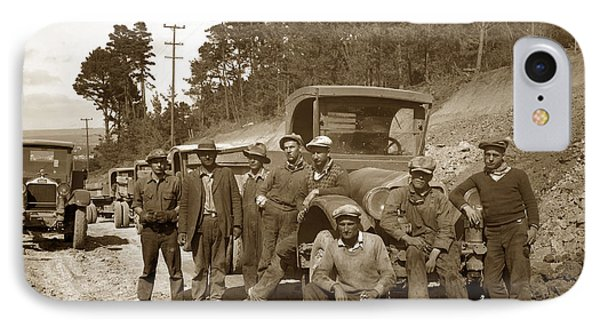 Workers On Highway One Monterey Carmel Hill California 1929 IPhone Case by California Views Mr Pat Hathaway Archives