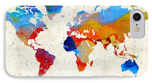 World Map 18 - Colorful Art By Sharon Cummings Phone Case by Sharon Cummings
