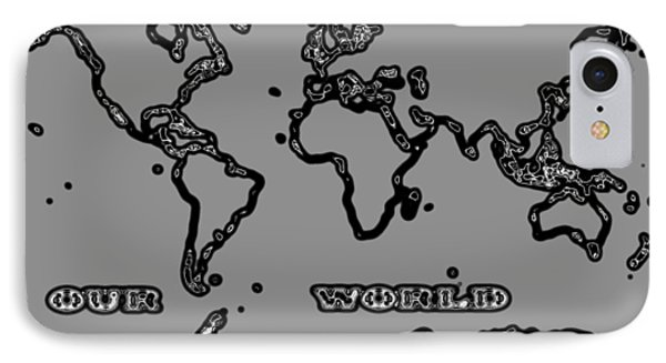 World Map Abstract Black And Grey Phone Case by Eti Reid