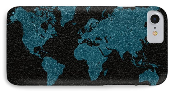World Map Blue Vintage Fabric On Black Leather IPhone Case by Design Turnpike