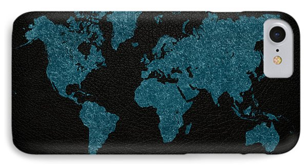 World Map Blue Vintage Fabric On Dark Leather IPhone Case by Design Turnpike