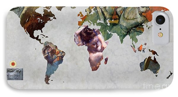 Degas 5  World Map IPhone Case by John Clark