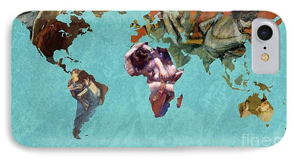 World Map Degas 2 IPhone Case by John Clark
