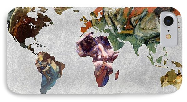World Map Degas 3 IPhone Case by John Clark