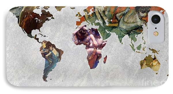 World Map   Degas 4 IPhone Case by John Clark
