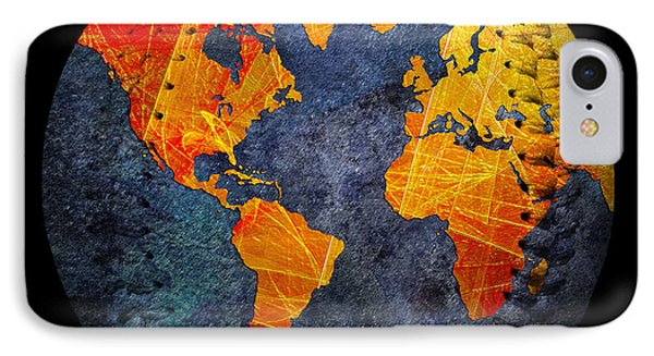 World Map - Elegance Of The Sun Baseball Square Phone Case by Andee Design