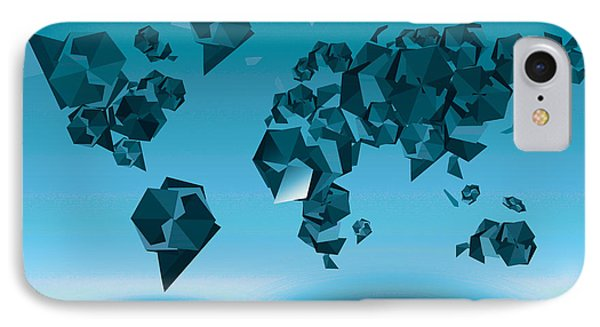 World Map In Geometic Blue  IPhone Case