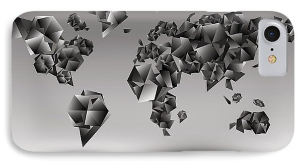 World Map In Geometic Gray  IPhone Case