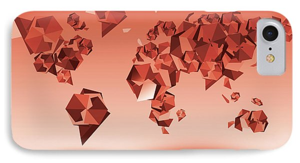 World Map In Geometic Red IPhone Case