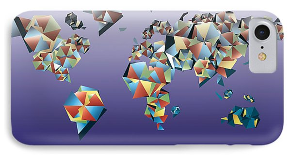 World Map In Geometric Fractal 2 IPhone Case