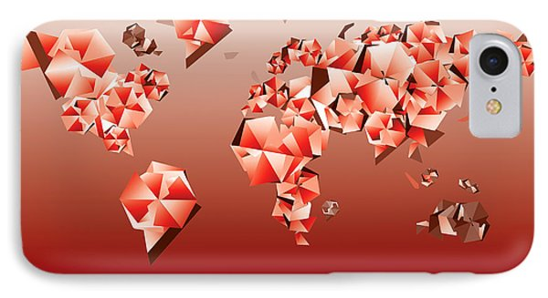 World Map In Geometric Red IPhone Case