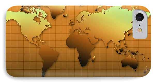 World Map In Gold IPhone Case