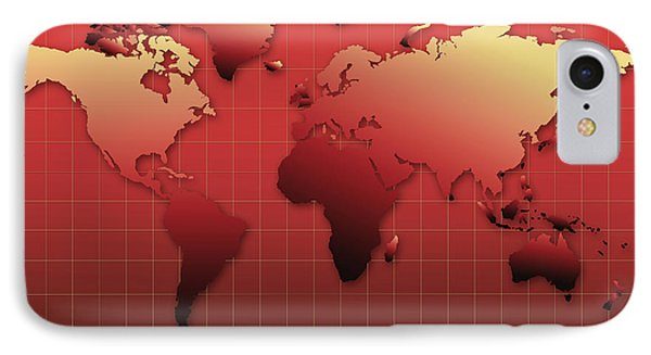 World Map In Red IPhone Case