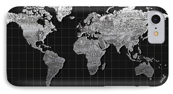 World Map Landmark Black IPhone Case