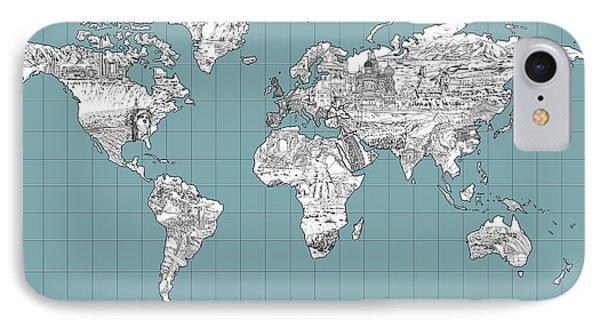 World Map Landmark Collage 3 IPhone Case