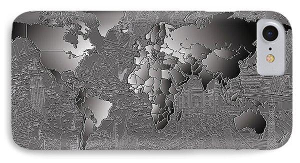 World Map Landmark Collage 6 IPhone Case