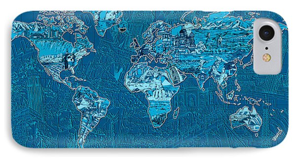 World Map Landmark Collage Blue IPhone Case