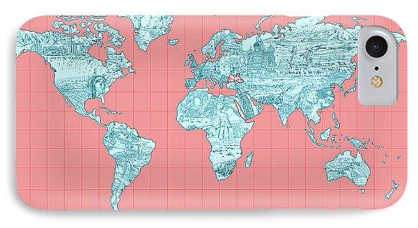 World Map Landmark Collage IPhone Case