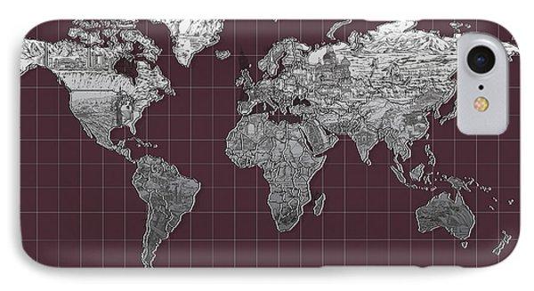 World Map Landmark Purple IPhone Case