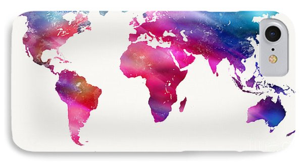 World Map Light  Phone Case by Mike Maher