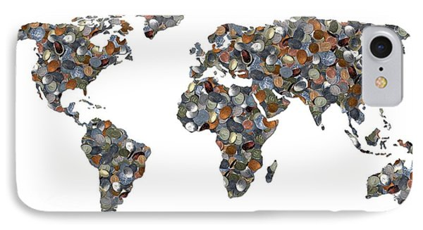 World Map Made Up Of Coins IPhone Case