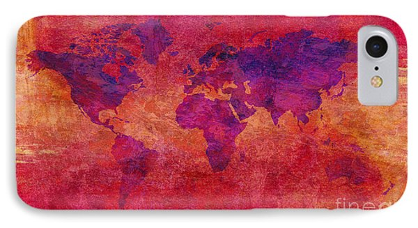 IPhone Case featuring the digital art World Map  by Mohamed Elkhamisy