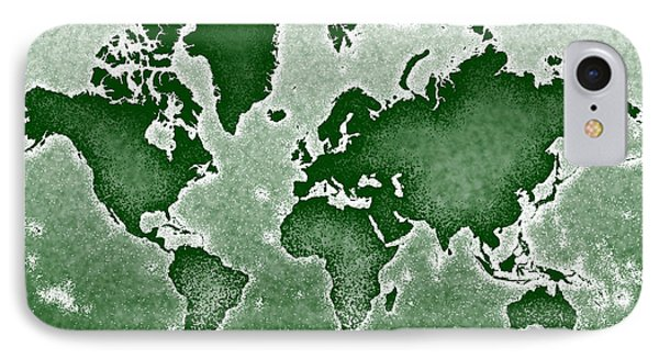 World Map Novo In Green IPhone Case by Eleven Corners