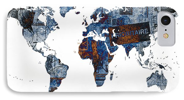 World Map Post Stamps Grunge Blueprint IPhone Case by Eti Reid