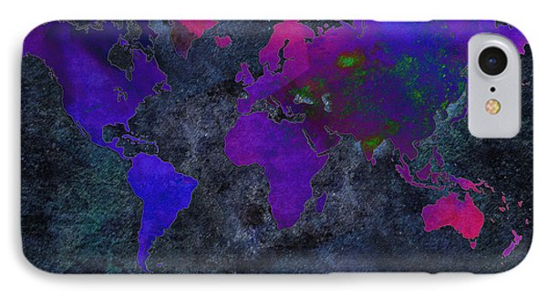 World Map - Purple Flip The Dark Night - Abstract - Digital Painting 2 Phone Case by Andee Design