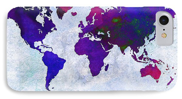 World Map - Purple Flip The Light Of Day - Abstract - Digital Painting 2 IPhone Case by Andee Design
