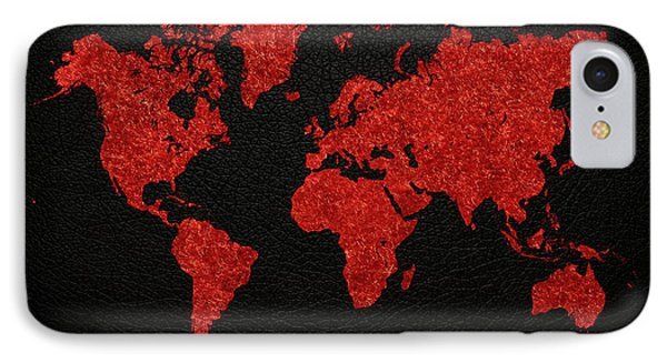 World Map Red Fabric On Dark Leather IPhone Case by Design Turnpike