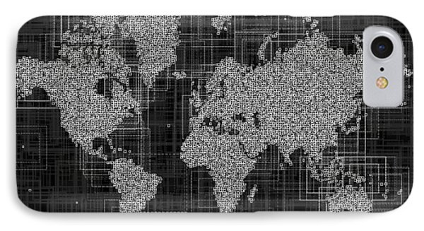 World Map Rettangoli In Black And White IPhone Case by Eleven Corners