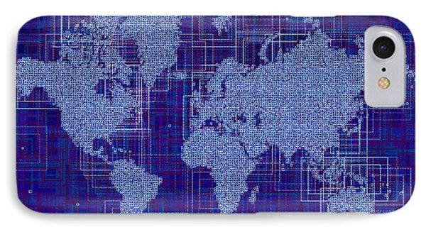 World Map Rettangoli In Blue And White IPhone Case by Eleven Corners