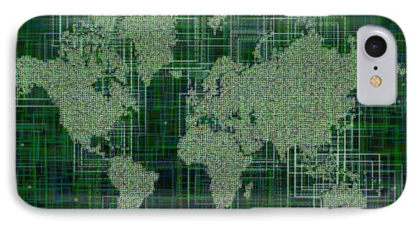 World Map Rettangoli In Green And White IPhone Case by Eleven Corners