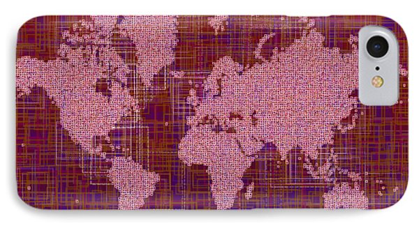 World Map Rettangoli In Pink Red And Purple IPhone Case by Eleven Corners