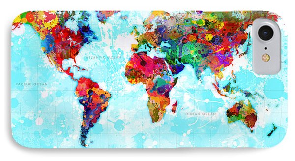 World Map Spattered Paint IPhone Case