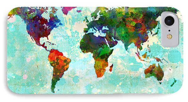 World Map Splatter Design IPhone Case