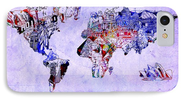 World Map Watercolor 2 IPhone Case