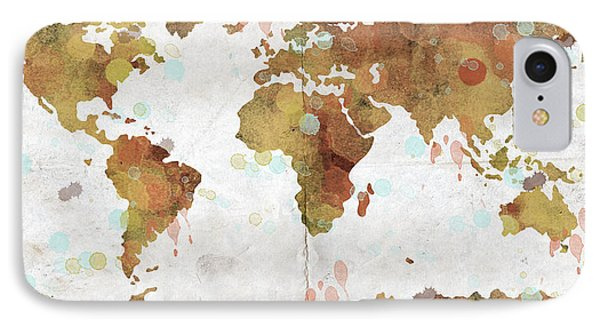 World Map Watercolor 3 Phone Case by Paulette B Wright