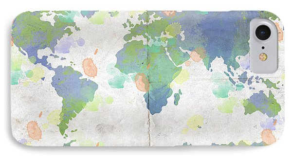 World Map Watercolor 4 Phone Case by Paulette B Wright