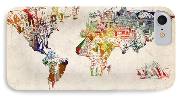 World Map Watercolor 5 IPhone Case