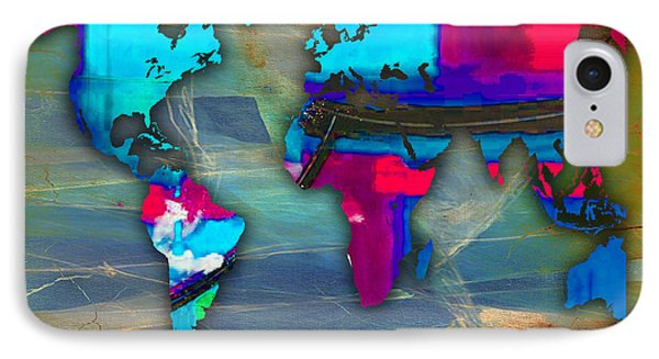 World Map Watercolor IPhone Case