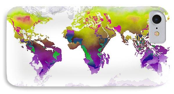 World Map Whorls2 IPhone Case