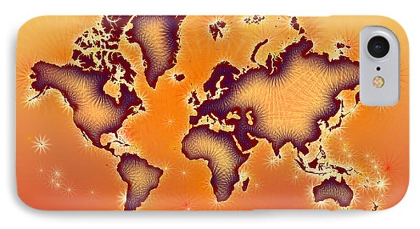 World Map You Are Here Amuza In Red Yellow And Orange IPhone Case by Eleven Corners