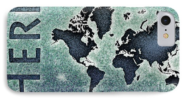 World Map You Are Here Novo In Black And Blue IPhone Case by Eleven Corners