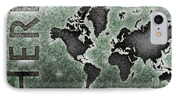 World Map You Are Here Novo In Black And Green IPhone Case by Eleven Corners