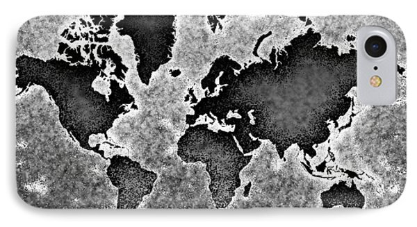 World Map You Are Here Novo In Black And White IPhone Case by Eleven Corners