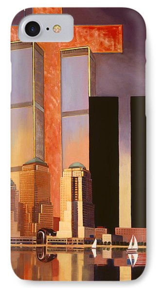 IPhone Case featuring the painting World Trade Center Memorial by Art James West