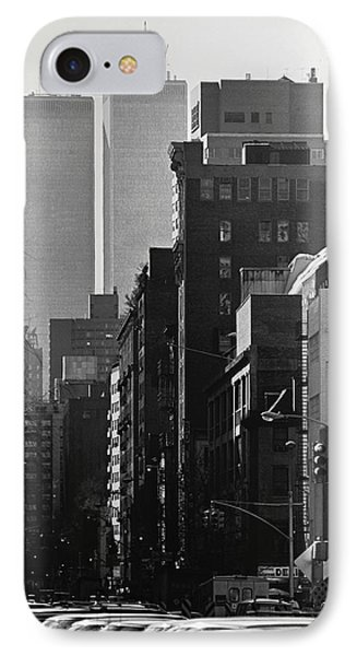 World Trade Center Street Scene - Black And White IPhone Case by Steven Hlavac